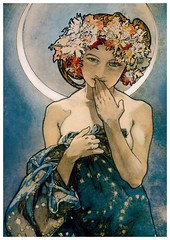 the Moon and the Stars from AafjeKnuffel (elligerra) Tags: alphonsemucha moon star girl woman drawing cloth hands shoulders portrait postcrossing postcard