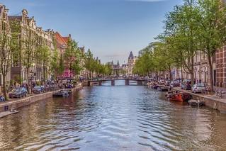 Kloveniersburgwal canal. Amsterdam, Netherlands