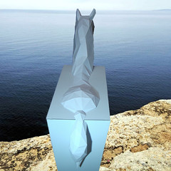 TROJAN HORSE HEXO-CUBED (SERRESUNDIAL) Tags: brenikou papercraft art paper diy macedonia greece hellas lowpoly lowpolyhorse serres statue