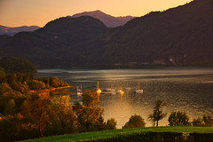 Late summer evening at the Mondsee lake (echumachenco) Tags: lake water shore grass tree forest mountain mountainside alps evening sunset pier boat sailboat vessel sky eveninglight mondsee salzkammergut upperaustria oberösterreich austria österreich landscape outdoor serene nikond3100 bay