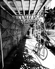 Scaffolding Point-Saint-Charles (MassiveKontent) Tags: streetphotography montreal bw contrast city monochrome urban blackandwhite streetphoto metropolis montréal quebec photography bwphotography streetshot architecture asphalt concrete shadows noiretblanc blancoynegro scaffolding