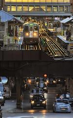 Upstairs, Downstairs (rjseg1) Tags: train cta elevated l tracks cars traffic chicago loop