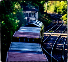 Heat haze and shadow (Peter Leigh50) Tags: freight freightliner containers train trees track class 66 shed locomotive haze hazy signal box level crossing semaphore railway railroad rail rutland ketton shade sunlight