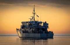 Renard 58 (Paul Rioux) Tags: ship boat vessel royalcanadiannavy military naval training renard 58 morning sunrise calm water ocean sea reflection clouds prioux