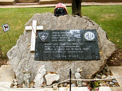 Vodice, Croatia = monument to several Firemen killed whilst tackling a fire (rossendale2016) Tags: free unpaid boys engraved grave sad icon religious crucifix cross dedication centre town park stone thirteen water helicopter kornat dedicated bravest national local department volunteer hajduk hajduck team fans football split torcida tisno island firefighters brave life prime down struck men young fighting hospital died friends four plaque monument firefighting fire firemen croatia vodice