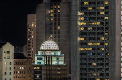 hilton penthouse (pbo31) Tags: sanfrancisco california nikon d810 color october 2018 city urban boury pbo31 night black dark over civiccenter fox plaza siemier contemporary architecture hotel dome