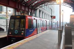 DLR 82 @ Canary Wharf DLR station (ianjpoole) Tags: docklands light railway bombardier class b92 82 rear service from lewisham all saints