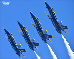 The Blue Angels Fleet Week San Francisco 2018 (billypoonphotos) Tags: echelon parade maneuver formation fleet week blue 2018 navy angels jets f18 hornet flying united states squadron bay area billypoon billypoonphotos california media news nikon photo photographer photography picture san francisco photos outdoor border d5500 nikkor 55300mm 55300 mm airplane sky aircraft jet trail people flyby