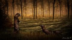 Otters in Love (larisalyn (Rachel)) Tags: otters otter ottersinlove animals trees art painting secondlife water
