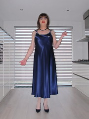 Satin nightdress (Paula Satijn) Tags: sexy hot girl babe silk satin nightdress nightie smooth soft blue nightgown happy joy fun smile girly feminine sensual kitchen pumps heels shiny