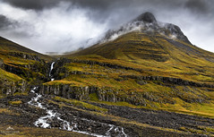 Hugged by clouds. (lawrencecornell25) Tags: mountain landscape scenery iceland reydarfjordur nature outdoors cloudy hillside waterfall nikond850