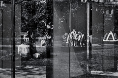 London Rococo by Dan Graham (2012) (pni) Tags: monochrome metal mesh glass grass reflection steel human people being person sculpture art friezesculpture2018 regentspark uk18 london uk england unitedkingdom pekkanikrus skrubu pni