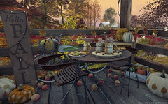 Foxy Fall (Frankie Jade Designs) Tags: autumn fall frankiejademontoya frankiejadedesigns apples trompeloeil chair dining outdoors magnolia hill estates magnoliahillestates autumnescape magnoliahilllandscapes eterniticooperstone whatnext pumpkin harvest sign explore virtual avatar