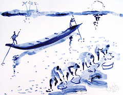 AFRICA TO THE NAKED oxid 197 (eduard muntada) Tags: africa to the naked 197 watercolor river sun light africanpeople survive boat mountains blue purple