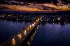 Lauttasaari (Samuli Koukku) Tags: lauttasaari landscape helsinki finland sunset bridge hasselblad mavic2 dji city cityscape citylights balticsea island