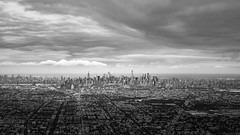 NYC Skyline from a plane (Badhri Narayanan) Tags: nyc skyline newyork flight morning blackandwhite bandw bw