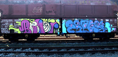 graffiti on freights (wojofoto) Tags: amsterdam nederland netherland holland graffiti streetart freighttraingraffiti freighttrain freights fr8 cargotrain vrachttrein treingraffiti traingraffiti wojofoto wolfgangjosten benoi benoit set setg