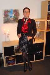 Satin blouse under jacket (Rikky_Satin) Tags: silk satin blouse checkered skirt jacket pantyhose nylons shiny pvc pumps highheels handbag scarf crossdressing crossdresser tgirl tgurl lady business office