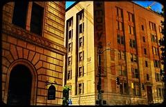 Solid Citizens (MPnormaleye) Tags: glow shadows golden bricks stone textures architecture urban dusk sundown sunset buildings