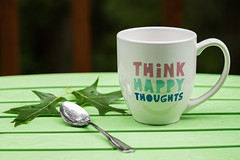 Think Happy Thoughts (lclower19) Tags: happy smileonsaturday words cup spoon leaves table green blue pink