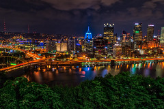 Pittsburgh lighting up the night! (tquist24) Tags: hdr indiana monongahelariver nikon nikond5300 outdoor pennsylvania pittsburgh architecture bridge building buildings city cityscape clouds downtown geotagged lights longexposure night reflection reflections river sky skyscraper tree trees water unitedstates