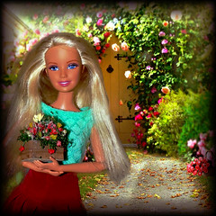 Barbie at the Flower Market (marieschubert1) Tags: barbie doll fashion mattel flower market colorful plants toy collectables