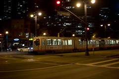 Inbound - Embarcadero & Brannan (I) (imartin92) Tags: sanfrancisco municipal railway california muni light rail vehicle lrv breda lrv2 lrv3 railroad transit night pan