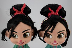 2012 vs 2018 Vanellope Talking Doll - Disney Store Purchases - Deboxed - Free Standing Side By Side - Portrait Front View (drj1828) Tags: wreckitralph2 ralphbreakstheinternet 2018 merchandise disneystore purchase productinformation vanellopevonschweetz talking doll actionfigure 2012 comparison