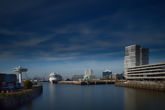 View from a Bridge #2 (T.Seifer : )) Tags: architecture view marina pier harbour hamburg hafencity cityscape skyline moored outside travel tourism outdoors reflection buildings longexposure cloudscape sky colours
