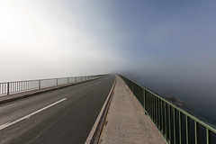 road to the clouds (dadiolli) Tags: sylvensteinspeicher sylvensteinsee bridge fog nebel morgennebel clouds bayern bavaria street strase brücke