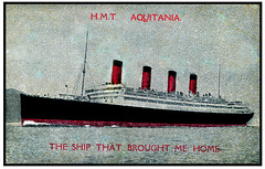 """""""The Ship That Bought Me Home"""" -- 1919 (JFGryphon) Tags: hmtaquitania aquitania cunardliner 1914 1950 postcard oldpostcard 1919 halifaxnovascotia southampton rmsaquitania hospitalship trooptransport 24knots armedmerchantescortship americantroops ussshaw royalmailsteamer rms hmt hiredmilitarytransport oceanliner titanic rmslusitania sufficientlifeboats wwi returningsoldier goinghome"""