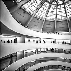 Guggenheim museum spirals (beninfreo) Tags: newyork newyorkcity nyc ny blackandwhite bw mono monochrome square contrast street streetphotography urban city guggenheim guggenheimmuseum spiral geometry canon5dmarkiv rokinon14mm