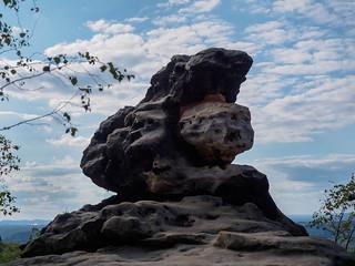 Felsen oben auf dem Papststein
