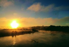 Caerleon (Dickie-Dai-Do) Tags: early morning cold mist sunrise bridge railway riverusk newport caerleon