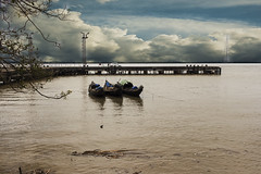 Jetty (soumen19xx) Tags: eos canon color cs6 chlorophyl creative asia india outdoor soumenray image island car jetty vessel boat reflection clouds cloudy water ripples river leaves blue dof light photos photography photoshop people plant waste
