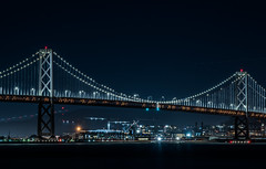 midnight over the pacific fleet (pbo31) Tags: sanfrancisco california nikon d810 color city urban october 2018 boury pbo31 fall night black dark treasureisland lightstream motion traffic baybridge 80 bridge ship navy carrier bay sail 6 chase arena crane construction warriors