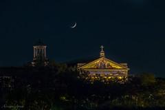 Roma, la basilica di San Paolo vista dal ponte Guglielmo Marconi (adrianaaprati) Tags: crescentmoon night basilica basilicaofsaintpaul rome october autumn roma