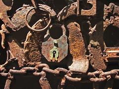 Unlock My Heart (skipmoore) Tags: forbestownmuseum lock chain rust rusted