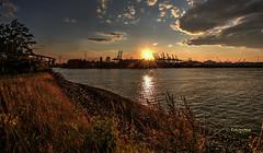 Festplattenfund 1 (petra.foto busy busy busy) Tags: fotopetra canon 5dmarkiii hamburg hafen elbe abends sonnenuntergang köhlbrandbrücke germany wolken sonne