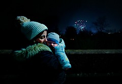 First Fireworks Night (matthewblackwood10) Tags: first fireworks night firework fire work dark winter evening cold sky baby mom mum mummy mother son child kid cuddle warm love hat bobble light natural uk scotland guy fawkes bridge hamilton