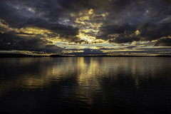 Lone Boat Fishing (LifeLover4) Tags: sunset pugetsound reflections hss dusk outside explore explored interestingness hughstickney stickneydesign chambersbay