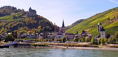 Along the Rhine (jimboyrer) Tags: germany rhine river medieval castle water trees village