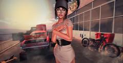 fix my car, plz (UGLLYDUCKLING Resident) Tags: secondlife sl avatar avi girl brunette virtual world blogger style fashion ootd car oldcar station catwa maitreya lyrium love evie rhude ugllyduckling light sun sunset