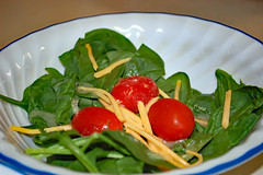 Salad In A Bowl. (dccradio) Tags: lumberton nc northcarolina robesoncounty indoor indoors inside food eat meal october autumn fall monday evening salad spinachsalad cheese shreddedcheese spinach italiandressing tomato tomatoes cherrytomato cherrytomatoes nikon d40 dslr