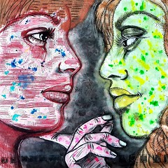 Bi (franck.sastre) Tags: art painting exhibition city streetart lips face eyes picture colors mujer
