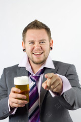 Happy Drunk and Pointing Office Worker (the UMF) Tags: beer indoors isolatedonwhite smiling toothysmile vertical alcohol business businessman caucasian color concept drink drunk drunken glass happy holding isolated lager male men messy officeparty oneperson people photograph pint pointing pub realpeople scruffy shirt studioshot suit tie untidy white youngmen
