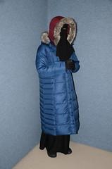 Two warm coats (Warm Clothes Fetish) Tags: slave maid fur coat hot warm sweat torture girl boots fleece apron niqab hijab