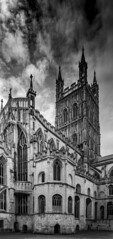 Gloucester Cathedral, Gloucestershire - B&W (JackPeasePhotography) Tags: gloucester cathedral tower window gothic architecture church abbey minster atmospheric nikon gloucestershire cotswolds