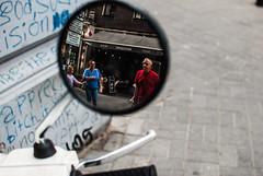 Side View (ewitsoe) Tags: 35mm cityscape ewitsoe nikond80 street warszawa erikwitsoe people summer urban warsaw reflectiontones man woman reflect mirror sideview city eople pedestrians motorbike