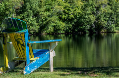 2018 - photo 265 of 365 - chair by reservoir pond (old_hippy1948) Tags: chair